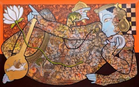 Religious Acrylic Art Painting title 'Lord Vishnu' by artist Ramesh Gorjala