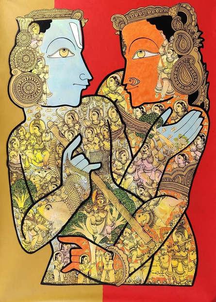 Religious Acrylic Art Painting title 'Radha Krishna' by artist Ramesh Gorjala