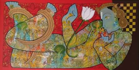 Ramesh Gorjala | Mixed-media Painting title Vishnu on Canvas | Artist Ramesh Gorjala Gallery | ArtZolo.com