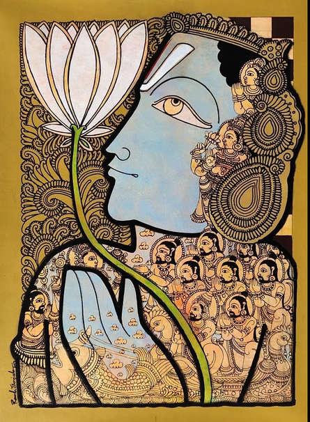 Religious Acrylic Art Painting title 'Vishnu 6' by artist Ramesh Gorjala