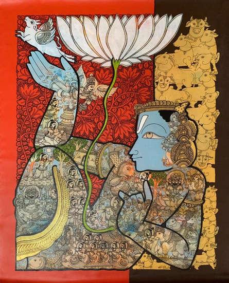 Religious Acrylic Art Painting title 'Vishnu 7' by artist Ramesh Gorjala