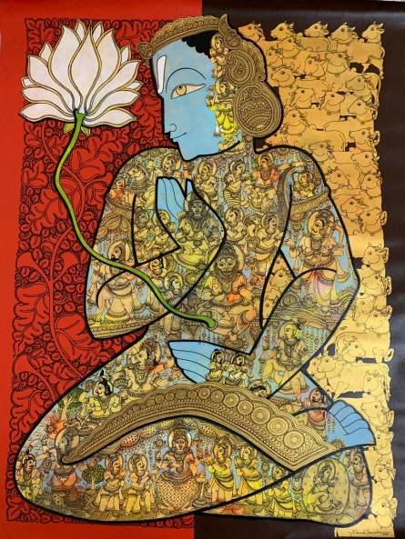 Religious Acrylic Art Painting title 'Vishnu With Lotus' by artist Ramesh Gorjala