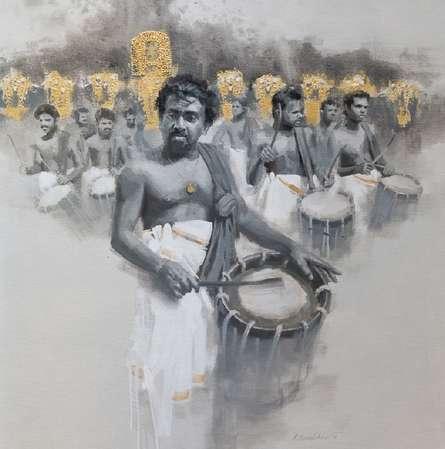 Figurative Acrylic Art Painting title 'Chenda Melam 1' by artist Pankaj Bawdekar