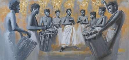 Figurative Acrylic Art Painting title Chenda Melam 2 by artist Pankaj Bawdekar