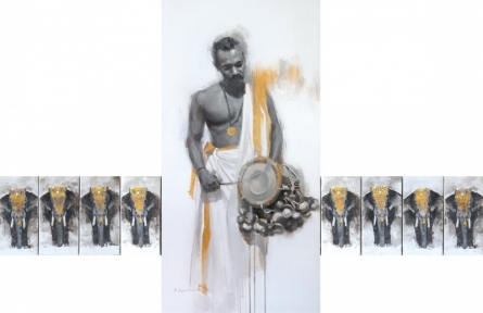 Figurative Acrylic Art Painting title Edakka by artist Pankaj Bawdekar