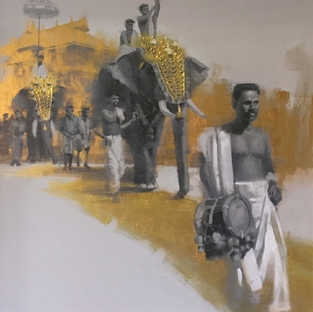 Elephant Procession 4 | Painting by artist Pankaj Bawdekar | acrylic | Canvas