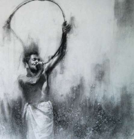 Figurative Charcoal Art Drawing title 'Kombu 2' by artist Pankaj Bawdekar