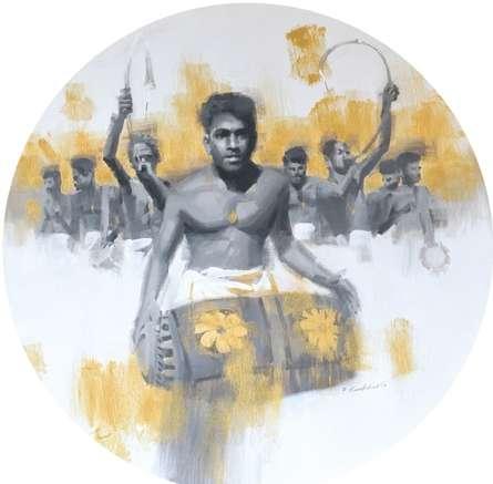 Figurative Acrylic Art Painting title 'Madhalam 1' by artist Pankaj Bawdekar