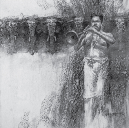 Figurative Charcoal Art Drawing title 'Nagaswaram' by artist Pankaj Bawdekar