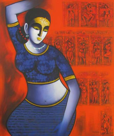 Figurative Acrylic Art Painting title 'Celestial Beauty sursundari 2' by artist Pratiksha Bothe