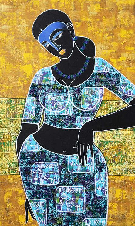 Figurative Acrylic Art Painting title 'Celestial Beauty In Memory Of Harappa' by artist Pratiksha Channekar