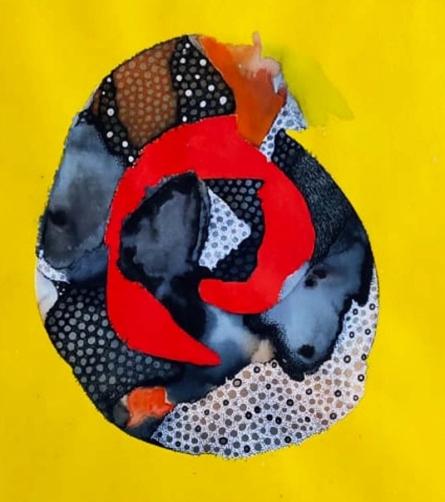 Abstract Mixed-media Art Painting title 'Covid 19 World' by artist Huma Khan