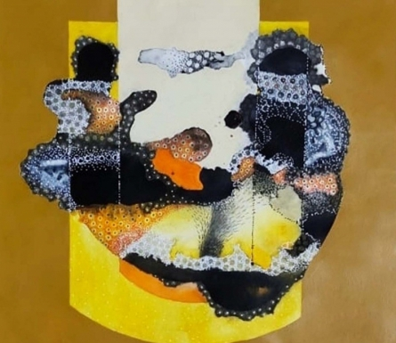 Abstract Mixed-media Art Painting title 'Untitled 3' by artist Huma Khan