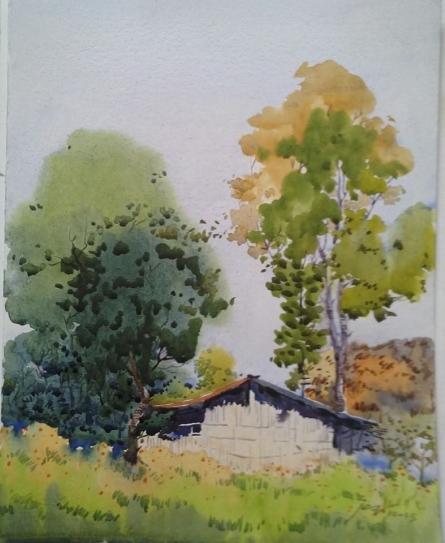 Nature Watercolor Art Painting title Landscape 10 by artist Surendra Jagtap