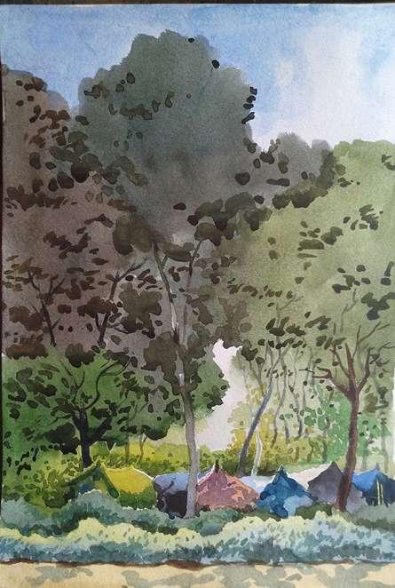 Nature Watercolor Art Painting title Landscape 11 by artist Surendra Jagtap