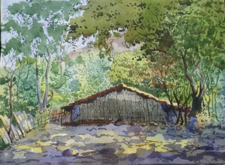 Landscape 14 | Painting by artist Surendra Jagtap | watercolor | Paper