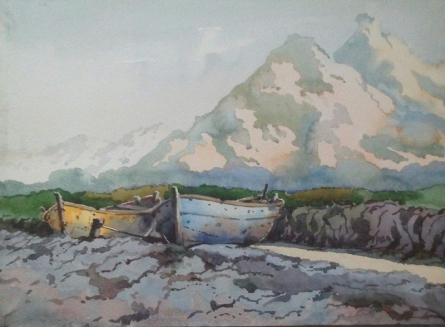 Nature Watercolor Art Painting title 'Landscape 16' by artist Surendra Jagtap