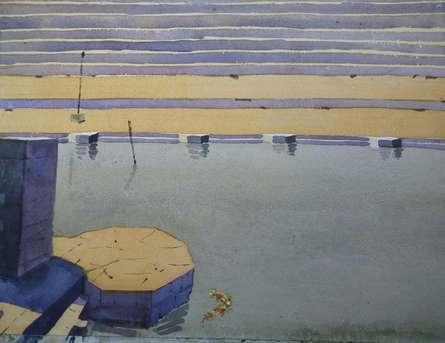 Nature Watercolor Art Painting title 'Landscape 6' by artist Surendra Jagtap
