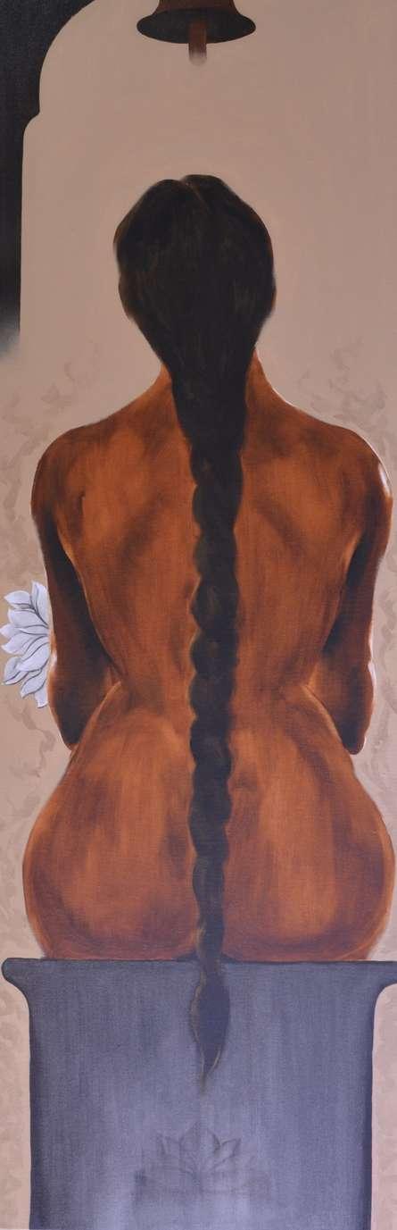 Nude Oil Art Painting title 'Untitle III' by artist Surendra Jagtap