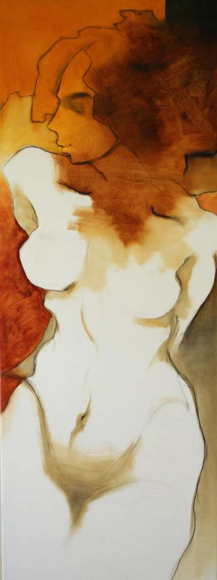 Nude Oil Art Painting title 'Untitle V' by artist Surendra Jagtap