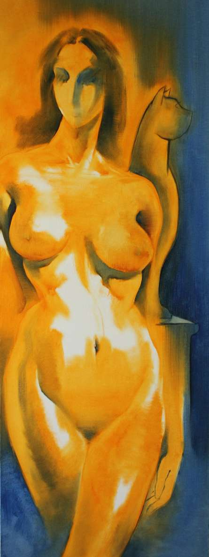 Nude Oil Art Painting title 'Untitle VI' by artist Surendra Jagtap