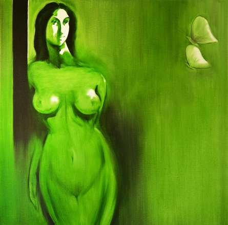 Nude Oil Art Painting title 'Untitle VII' by artist Surendra Jagtap