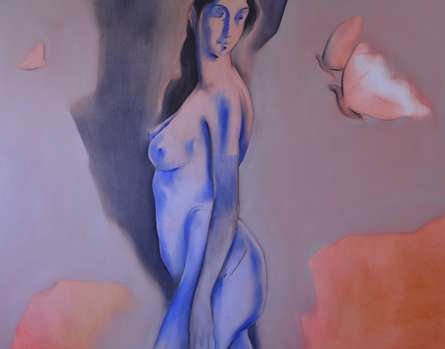 Nude Oil Art Painting title 'Untitled VII' by artist Surendra Jagtap