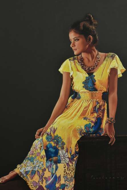 Realistic Pencil Art Drawing title 'Girl with Yellow Frock' by artist Parshuram Patil