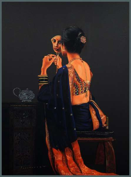 Realistic Pencil Art Drawing title 'Lady Sitting with Mirror' by artist Parshuram Patil