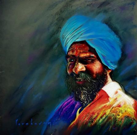 Realistic Color-pencil Art Drawing title Pilligrim 1 by artist Parshuram Patil