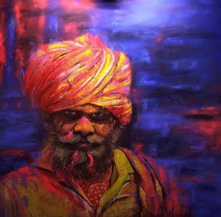 Realistic Color-pencil Art Drawing title Pilligrim 3 by artist Parshuram Patil
