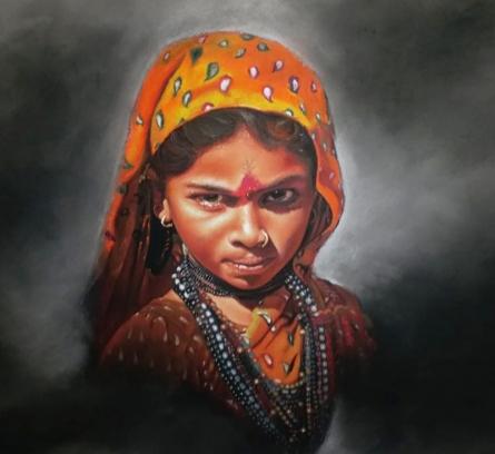 Realistic Color-pencil Art Drawing title Yatrekaru by artist Parshuram Patil