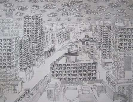 Pigeoned home II | Drawing by artist Mangesh  Kapse |  | others | Paper