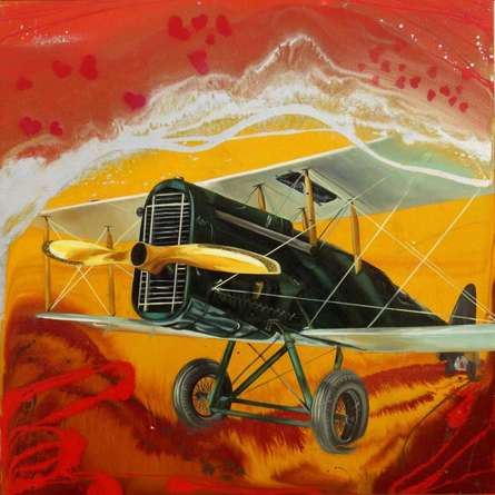 Aviation Oil Art Painting title Chariots Of Love 9 by artist Ankur Rana
