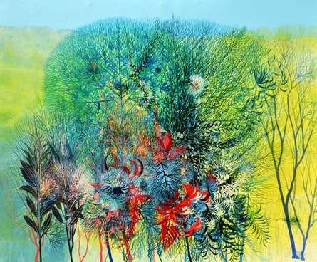 My Village Garden I | Painting by artist Kishore Kumar Sahu | acrylic | Canvas