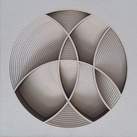 Division In circle | Sculpture by artist Ravi Shankar | paper