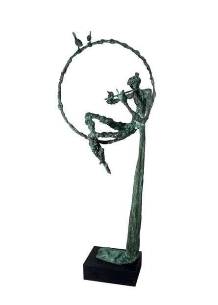 Brass Sculpture titled 'Flute Player' by artist Rohan Pawar