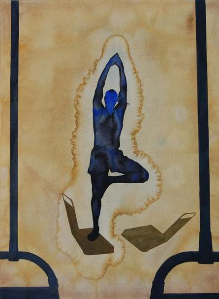Figurative Watercolor Art Painting title 'Yoga' by artist Manish Sutar