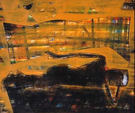 Raju Terdals Paintings | Acrylic Painting - Kabeer Ki Chaddar by artist Raju Terdals | ArtZolo.com