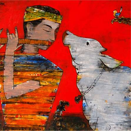 Raju Terdals | Acrylic Painting title Murli And Cow on Canvas | Artist Raju Terdals Gallery | ArtZolo.com