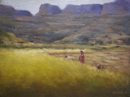 Landscape Oil Art Painting title 'Field 2' by artist Uday Farat