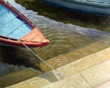 Seascape Oil Art Painting title 'Reflection 5' by artist Uday Farat
