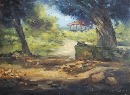 Landscape Oil Art Painting title 'Tree 1' by artist Uday Farat