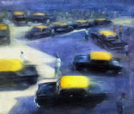 Cityscape Oil Art Painting title Yellow Black 1 by artist Uday Farat
