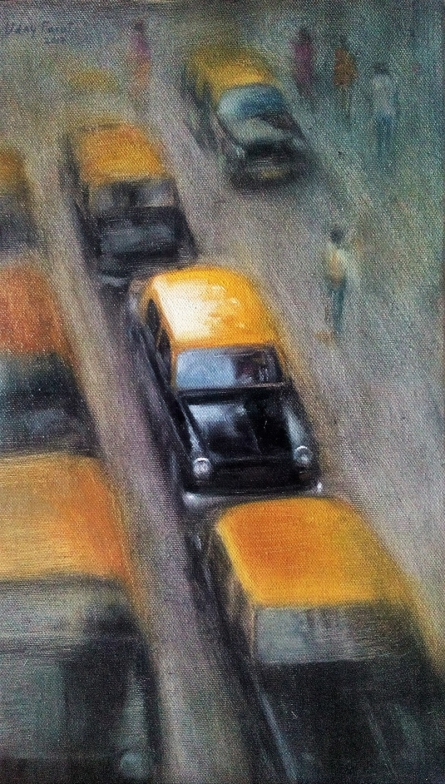 Cityscape Oil Art Painting title 'Yellow Black 3' by artist Uday Farat