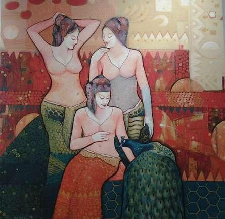 Figurative Acrylic Art Painting title Gassiping II by artist Apurba Karati