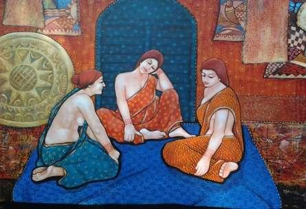 Gassiping - IV | Painting by artist Apurba Karati | acrylic | Canvas