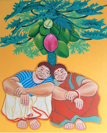 Figurative Acrylic Art Painting title Larger Than Life by artist Apurba Karati