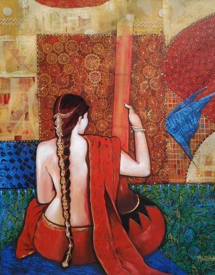 Figurative Acrylic Art Painting title Sadhana by artist Apurba Karati