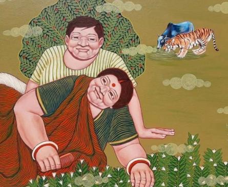 Figurative Acrylic Art Painting title 'Same Water' by artist Apurba Karati